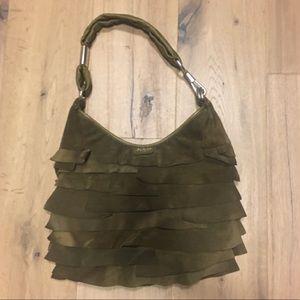 Yves Saint Laurent olive leather shoulder bag.